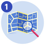 #1 A magnifying glass pointing towards a map