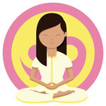 Woman meditating in front of a yellow and pink ying yang symbol with her legs crossed, hands together and eyes closed looking after herself during preparing for medical school admission.