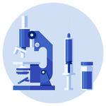 A microscope, a syringe and a bottle