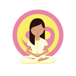 Woman meditating in front of a yellow and pink ying yang symbol with her legs crossed, hands together and eyes closed looking after herself while studying for the UCAT.