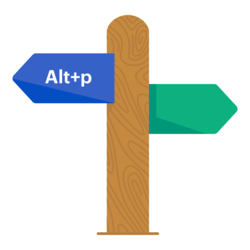 A signpost showing the Alt+P shortcut that can be used in the UCAT ANZ to return to a previous page.