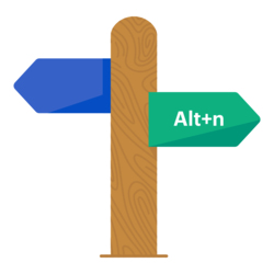 A signpost showing the Alt+N shortcut that can be used in the UCAT ANZ to quickly move onto the next page.