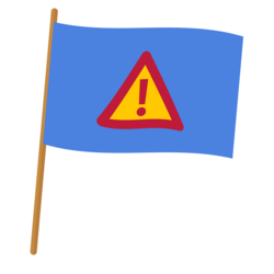 A blue flag that displays a triangle warning sign that has an exclamation mark on it