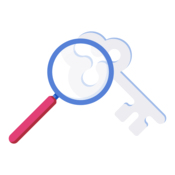A magnifying glass pointing towards a key