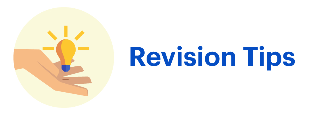 "A lightbulb floating on top of a hand, next to the text ""Revision Tips"""