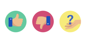 A thumbs up (true) picture, a thumbs down (false) picture and a hand with a question mark floating on it (can't tell).