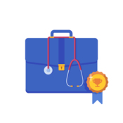 A physician's bag with a medal ribbon. A stethoscope is hung around the bag.