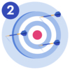 #2 A target with three darts missing the bullseye.