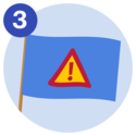 #3 A blue flag that displays a triangle warning sign that has an exclamation mark on it