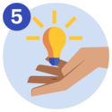 #5 A lightbulb floating on top of a hand.