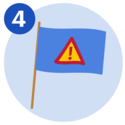 #4 A blue flag that displays a triangle warning sign that has an exclamation mark on it