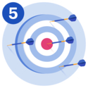 #5 A target with a dart in the bullseye and three darts missing the bullseye.