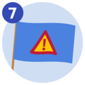 #7 A blue flag that displays a triangle warning sign that has an exclamation mark on it