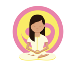 Woman meditating in front of a yellow and pink ying yang symbol with her legs crossed, hands together and eyes closed looking after herself.