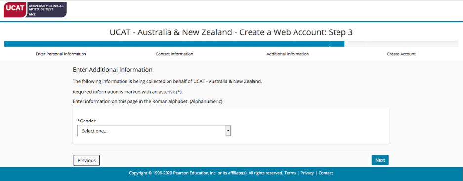 A screenshot showing Step 3 of the PearsonVUE web account creation process: entering your gender.