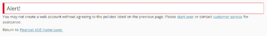 A screenshot of an Alert page that comes up if the Privacy Policy Acceptane is not agreed on.