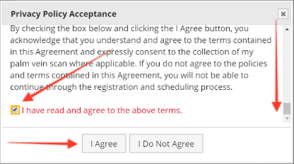 """A screenshot showing the Privacy Policy Acceptance page, with the """"I have read and agree to those terms"""" box ticked."""