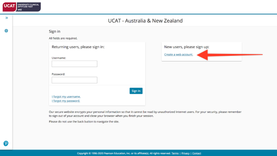 A screenshot showing how to create a new PearsonVUE account