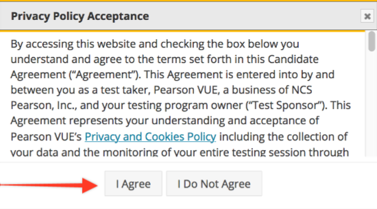 A screenshot showing the Privacy Policy Acceptance page.