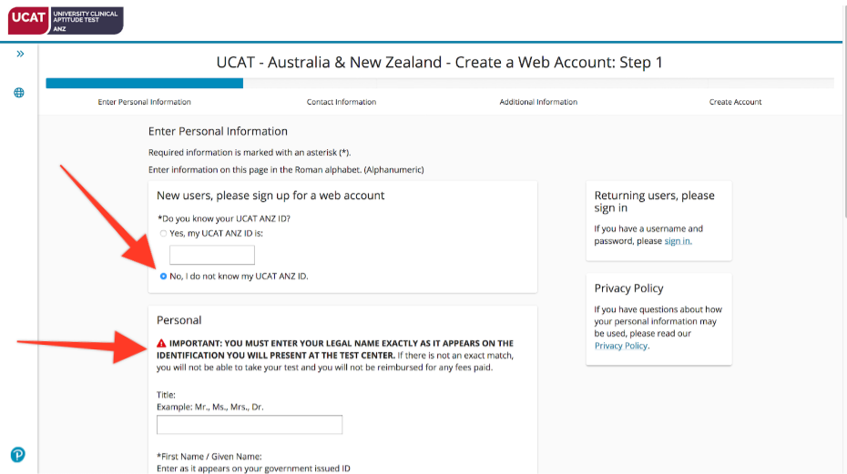 A screenshot showing Step 1 of the PearsonVUE web account creation process: entering your UCAT ANZ ID, title and first name.
