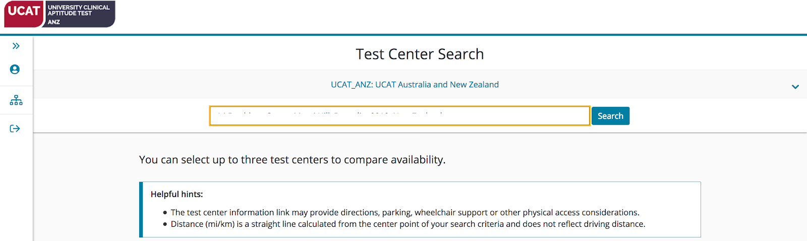 A screenshot showing the Test Center Search page.