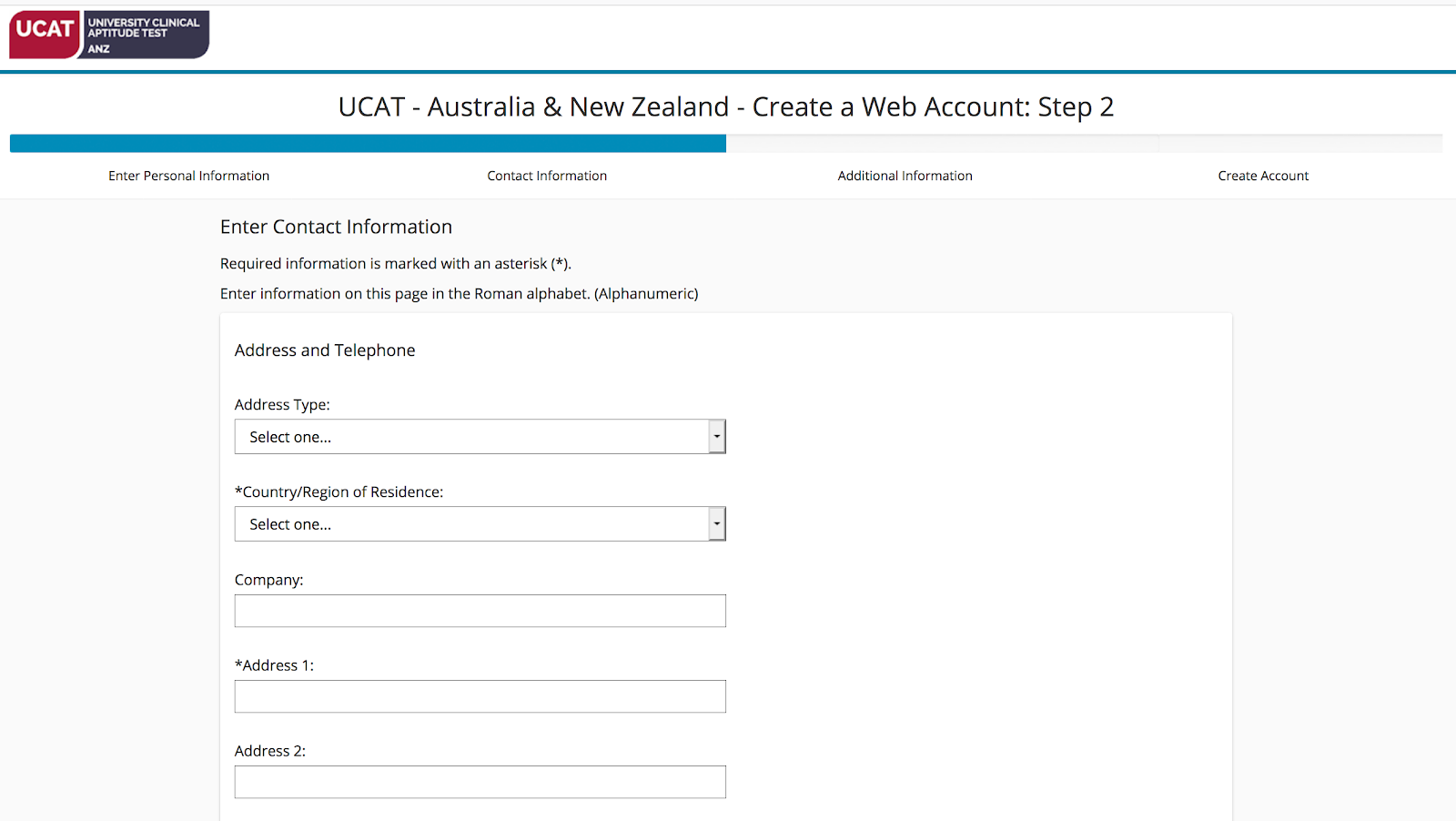 A screenshot showing Step 2 of the PearsonVUE web account creation process: entering your address.