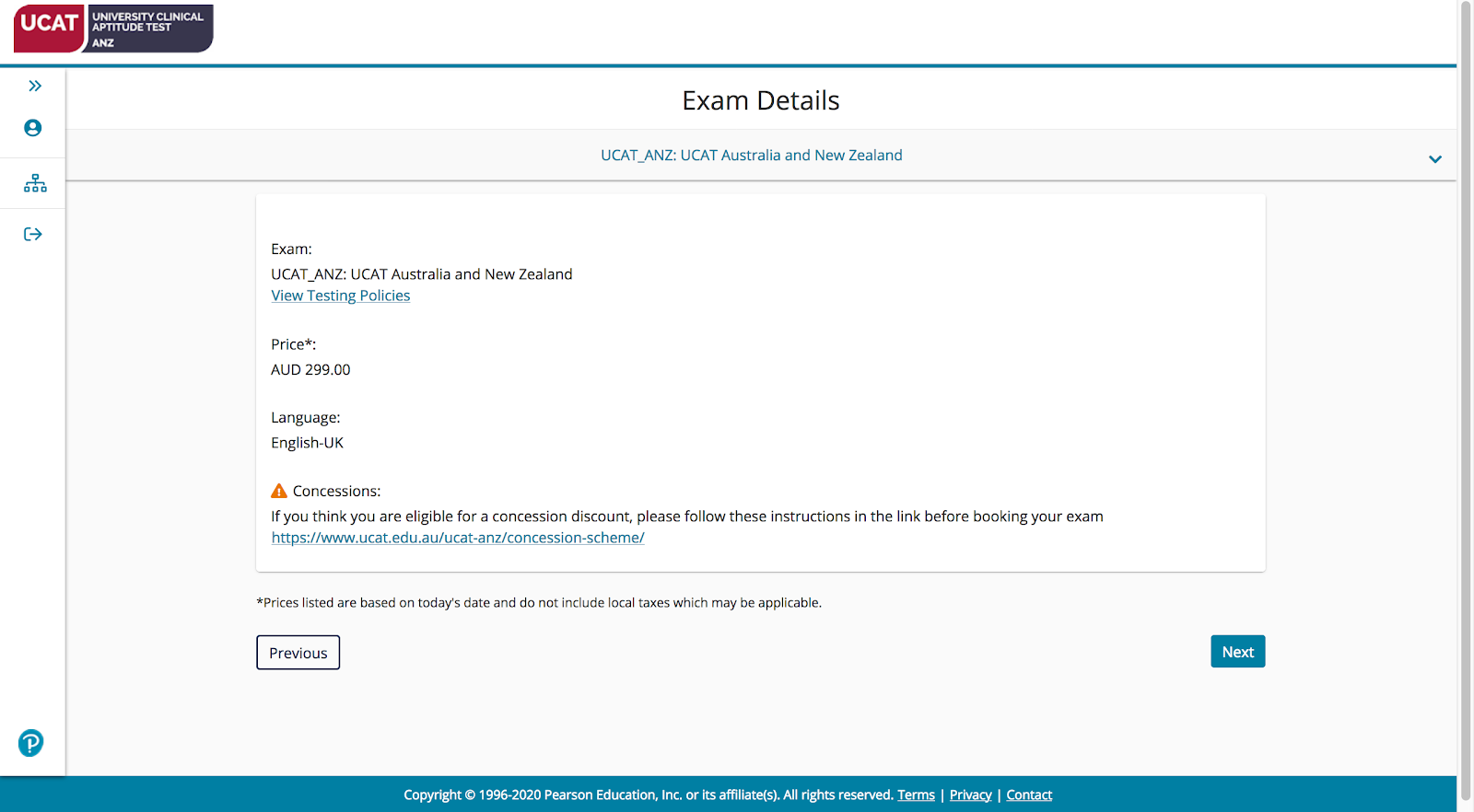 A screenshot showing exam details for the UCAT ANZ, including the price (AUD299), language (English-UK) and a link to the concession scheme.