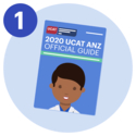 #1 A cartoon style illustration of the 2020 UCAT ANZ official guide.