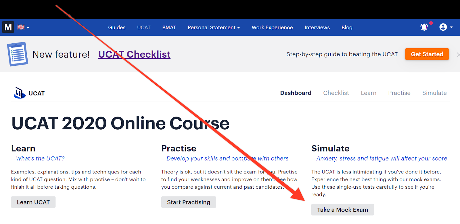 "Screenshot of Medify's UCAT course with a red arrow pointing towards the button ""Take a Mock Exam"""