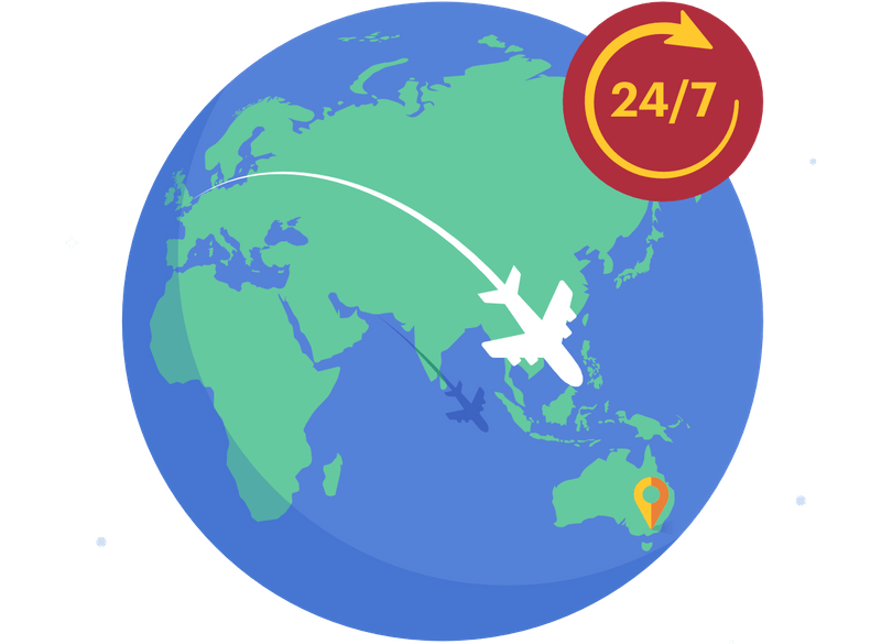 A plane flying across the globe, with 24/7 text box next to it. Medify UCAT ANZ course is accessible anywhere, anytime.