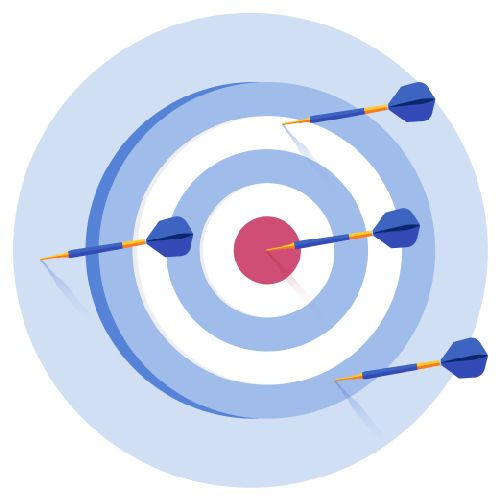 A target with a dart in the bullseye and three darts missing the bullseye.