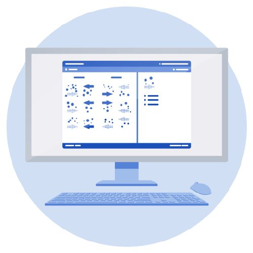 A screen showing Medify's UCAT ANZ abstract reasoning section practice question, with a keyboard and a mouse in front.