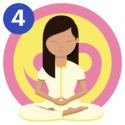 Woman meditating in front of a yellow and pink ying yang symbol with her legs crossed, hands together and eyes closed looking after herself during COVID-19 and UCAT revision.