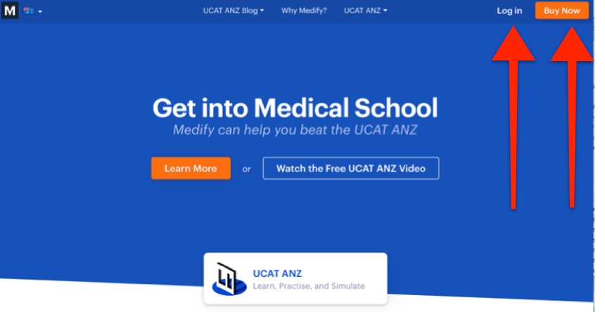 "A screenshot of Medify's UCAT ANZ course showing the ""Log in"" and ""Buy Now"" buttons"