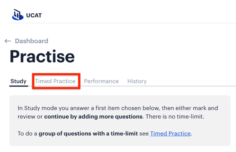 "A screenshot of Medify's UCAT ANZ course highlighting the ""Timed Practice"" tab."