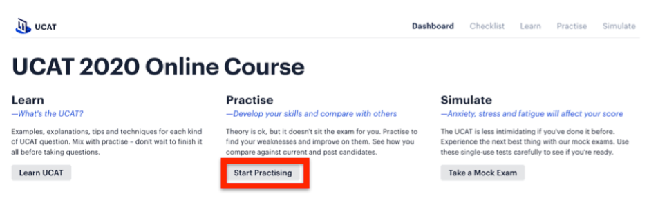 "A screenshot of Medify's UCAT ANZ course showing the ""Start Practising"" link."