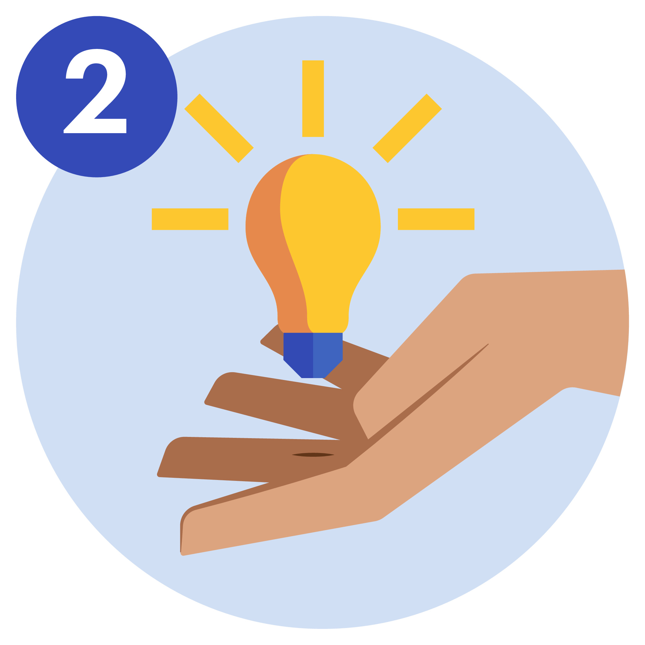 #2 A lightbulb floating on top of a hand.