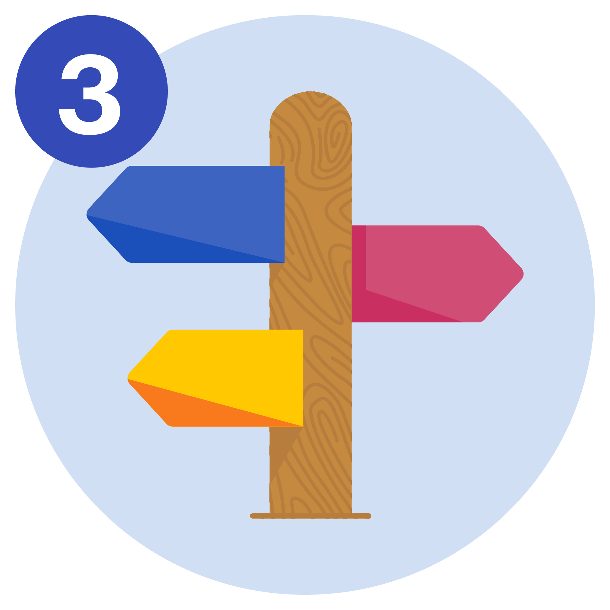 #3 A signpost showing directions to three different destinations.