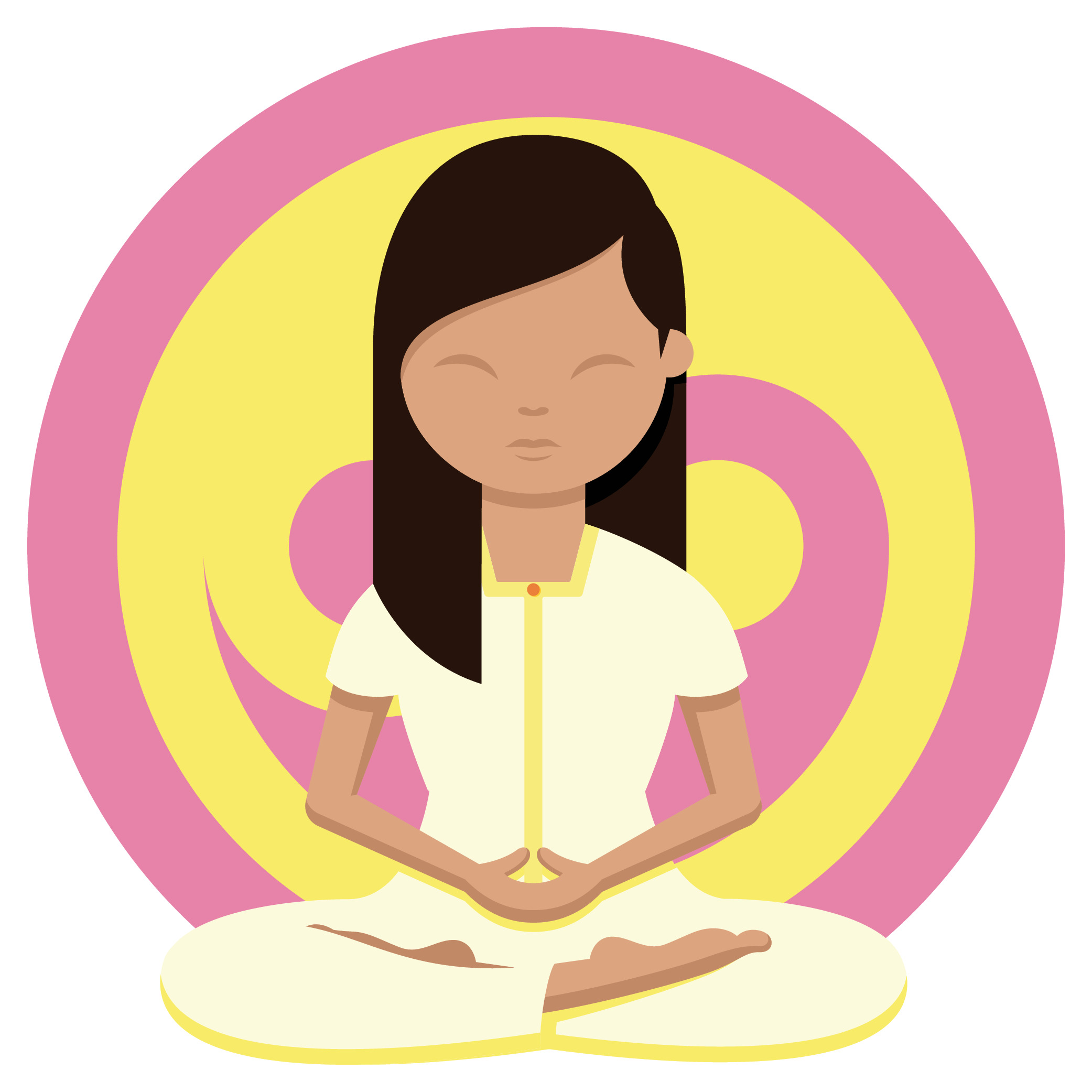 Woman meditating in front of a yellow and pink ying yang symbol with her legs crossed, hands together and eyes closed looking after herself during UCAT