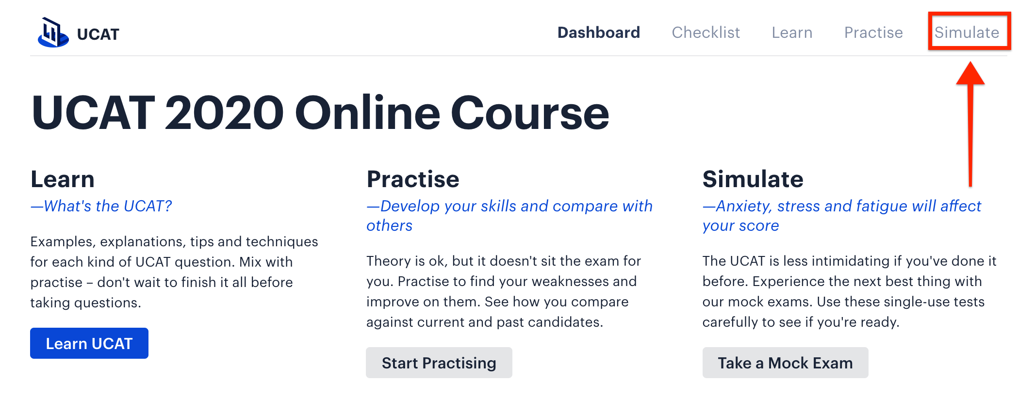 A screenshot of Medify's UCAT 2020 online course, with a red arrow pointing towards the 'Simulate' button.