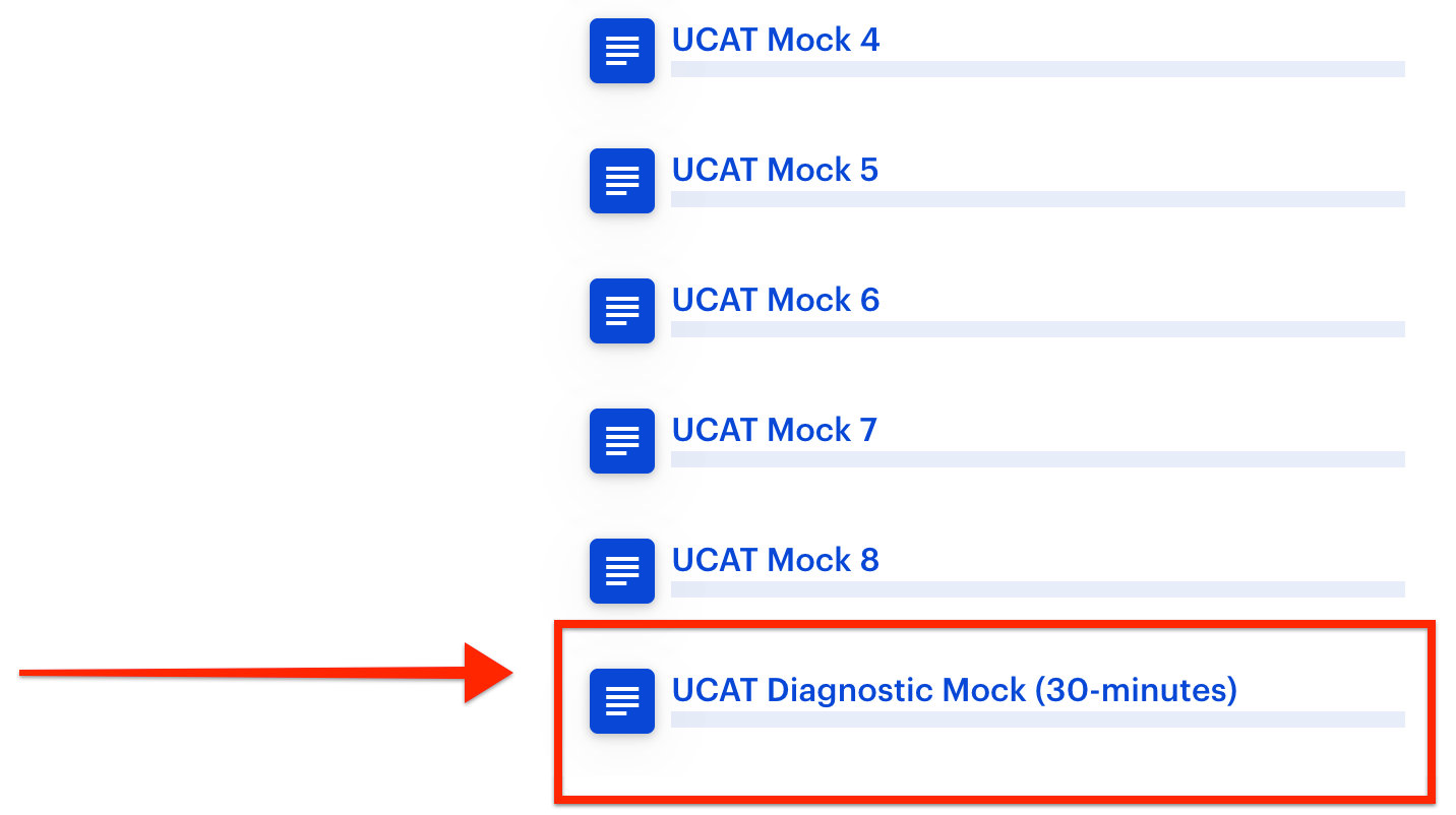 A screenshot of the 'Simulate' tab, with a red arrow pointing towards Medify's 'UCAT Diagnostic Mock (30-minutes)'