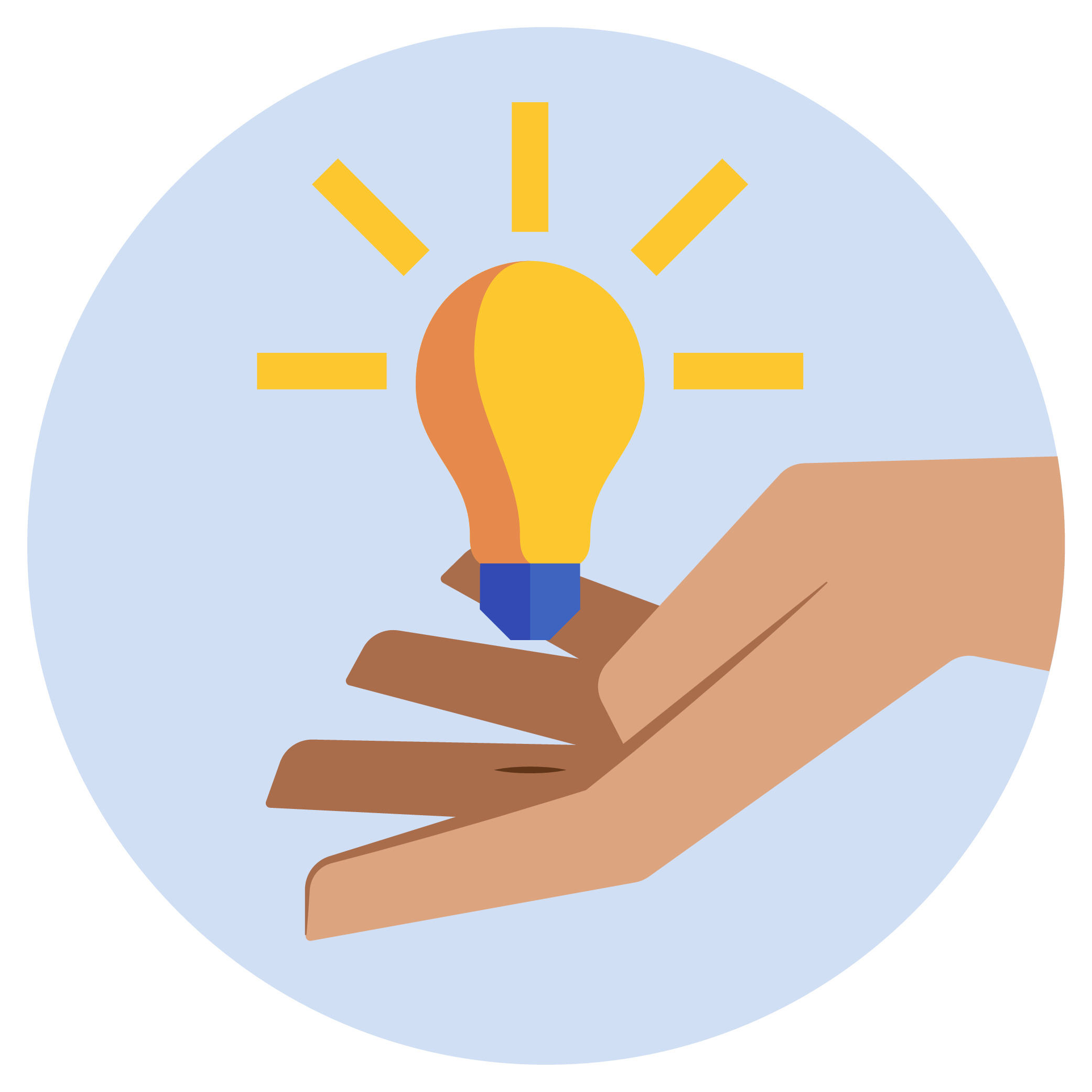 A lightbulb floating on top of a hand.