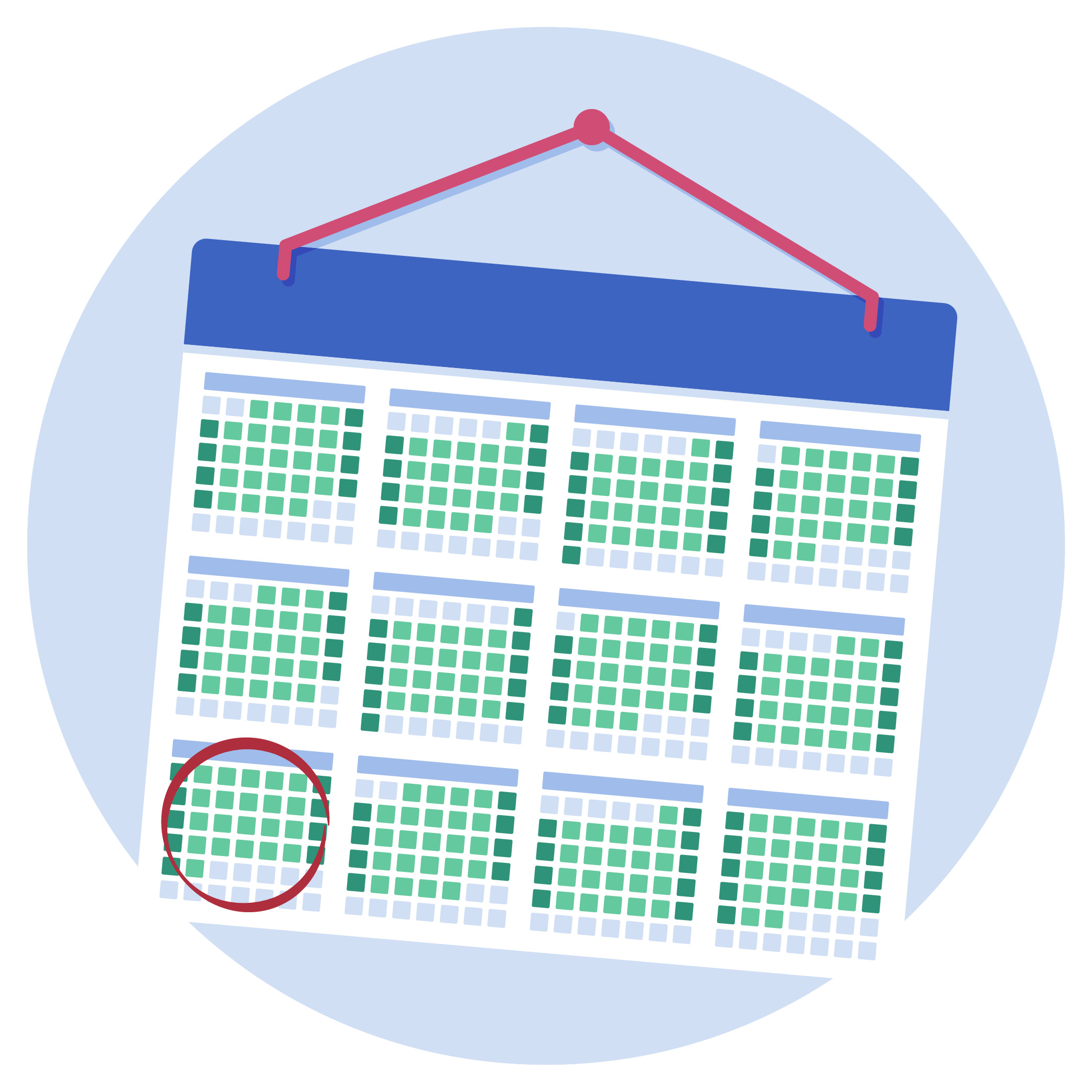 A calendar with a person's UCAT test date marked with a circle.