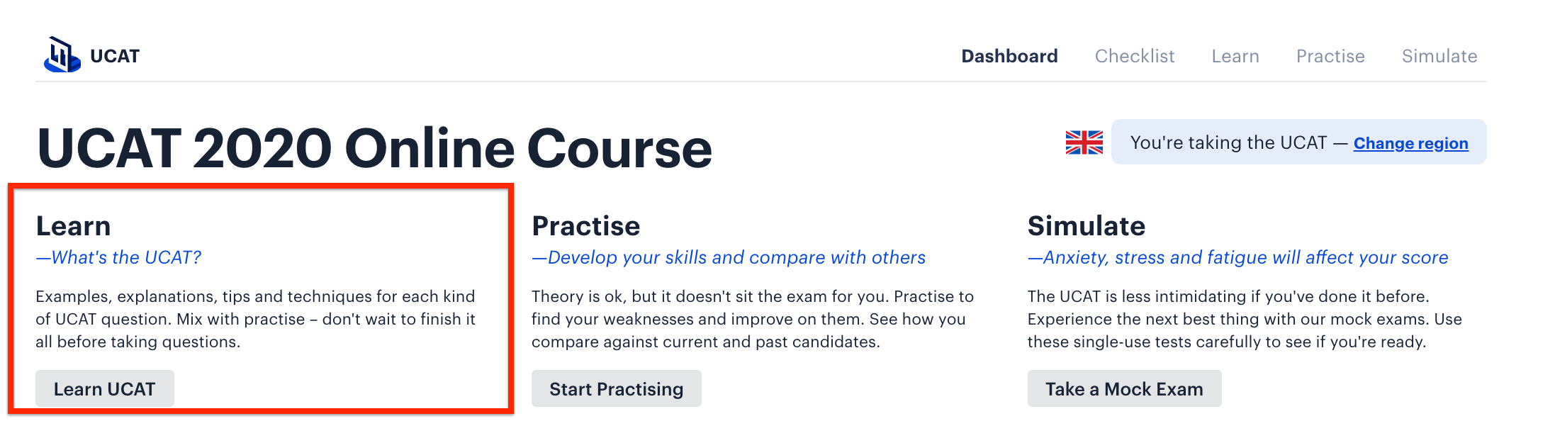 A screenshot of Medify's Online UCAT ANZ course, with a red box drawn around the 'Learn' section.