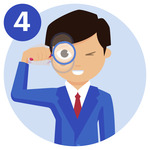 #4 A person waving a magnifying glass in front of his right eye.
