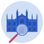 A magnifying glass pointing towards a university building