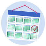 A calendar with a person's UCAT ANZ test date marked with a tick and a circle.