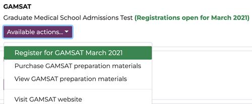 A screenshot of GAMSAT registration page
