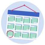 A calendar, with September marked in a red circle