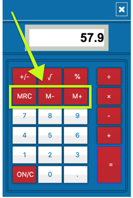 UCAT calculator, highlighting the memory buttons